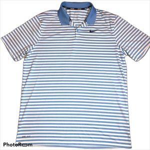 Nike Golf Blue Striped Shirt Large Men's SS